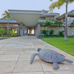 Entry garden with turtle sculpture