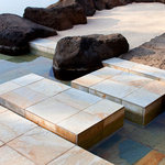 Steps to sand boxes and wading pool